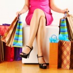 lady with colorful shopping bags