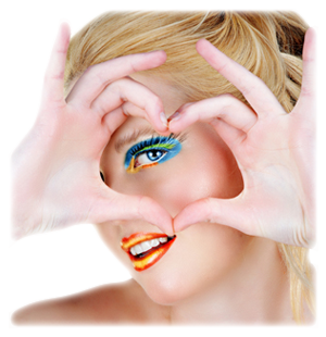 heart-woman colorful makeup